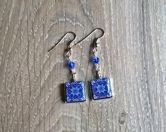 Blue Moroccan tile earrings, Moroccan jewelry, Moroccan travel souvenir, Moroccan wedding gift, blue tile earrings, something blue, mom gift
