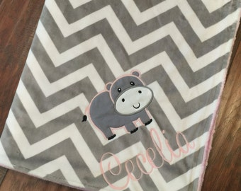 Personalized Baby Blanket-Hippo Baby Blanket- Chevron Minky- Minky Baby Blanket- Hippo Blanket