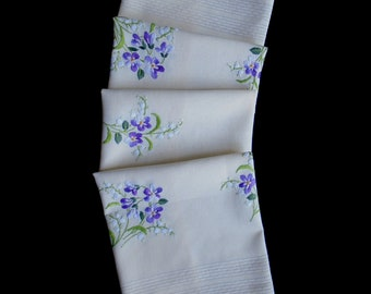Vintage hand-embroidered tablecloth or topper -- cream topper with hand-embroidered violets -- 29.5x29 inches / 75x73.5 cm