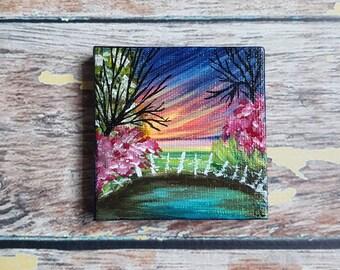 """Miniature Garden Painting   Magnetic Canvas Original Art   Landscape Painting   Landscape Art   Secret Garden   Fridge Magnet   2.5x2.5"""""""