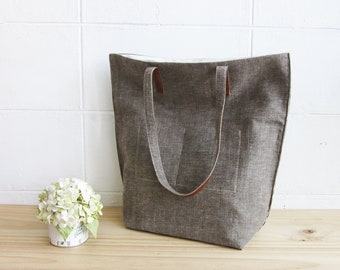 Simple Tote Bags Medium Size Botanical Dyed Linen-Cotton Blend