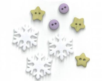 8-piece Meadowsweet Buttons and Beads by Just Another Button Company/Amanda Murphy at cottageneedle.com handmade small batch Christmas