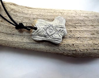 Necklace with Baltic Sea Beach stone. Necklace with symbol of purity in our minds and hearts. New beginning.