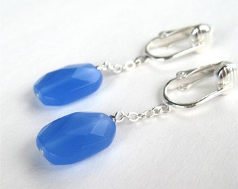 Blue Pendant Clip-on Earrings, Faceted Glass Rectangle Clipons, Silver Ear Clips, Handmade, Lou
