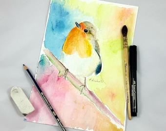 Little bird, original watercolor, portrait, ooak, gift idea for baptism or birth, wall art, home office decoration, nursery, child's bedroom