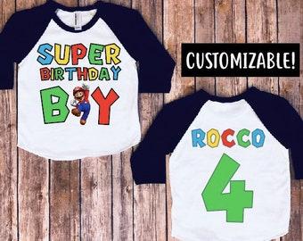 Super mario brothers birthday shirt- birthday boy shirt, super mario party, super mario birthday, kids birthday, kids birthday raglan, MF