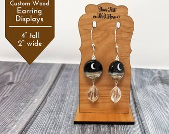 Custom Earring Cards Wood Display Stand |  Logo or Name Mini Display Laser Engraved | Customized Jewelry Display
