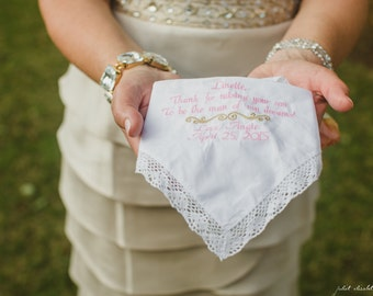MOTHER OF the BRIDE, Wedding Poem To Dry Your Happy Tears, Personalized, Embroidered, Wedding, Hankerchiefs, by Canyon Embroidery