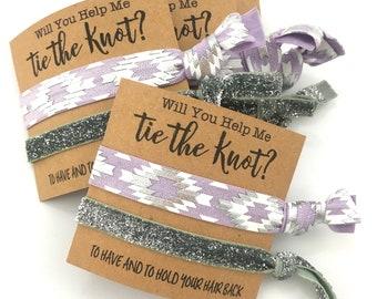Lavender + Silver | Bridesmaid Proposal | Bachelorette | Will You Be My Bridesmaid | Bachelorette Party, Bridesmaid Hair tie, Bridesmaid Box