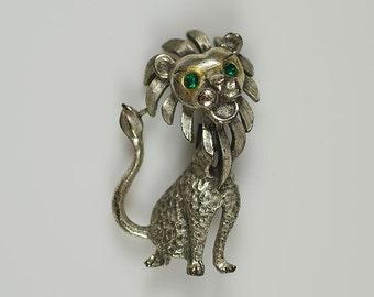 Vintage Lion Brooch Pin Friendly Leo Lion with Rhinestone Green Eyes