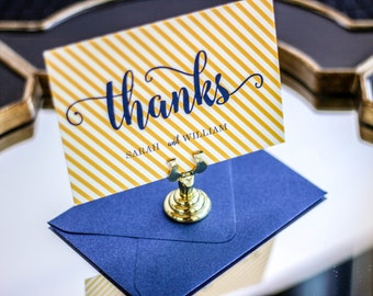 "Modern Thank You Card, Personalized Stationery, Nautical Thank You Card, Blue and Gold - ""Calligraphy Chic"" Flat Thank You Cards - DEPOSIT"