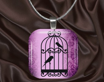 Black Birdcage on Purple Glass Tile Pendant with chain(CuAn5.1)
