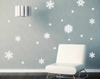 Snowflake Wall Decal Set, Snowflakes Window Stickers, Christmas Wall Decals, Snow Flake Decals, Holiday Wall Decals, Snowflake Decals