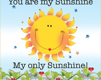 """New Size Fabric Art Panel - 6"""" Square - You are my Sunshine"""