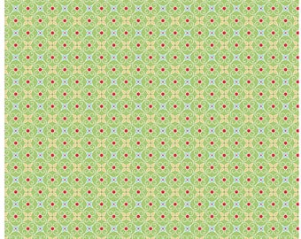 COZY CHRISTMAS - Wrapping Paper in Green -  Stars Cotton Quilt Fabric - C5367-GREEN - by Lori Holt for Riley Blake Designs Fabrics (W4320)