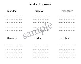 A4/A3 Weekly Planner, Weekly To Do Calendar, Week Ahead Planner, Week At A Glance, Traditional Simple Minimalist