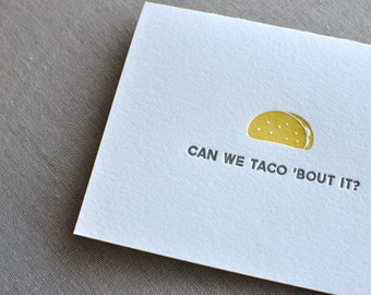Can We Taco 'Bout It Letterpress Card & Envelope