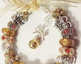 Christmas Holiday Bracelet European Bead  Red & Gold Murano Glass
