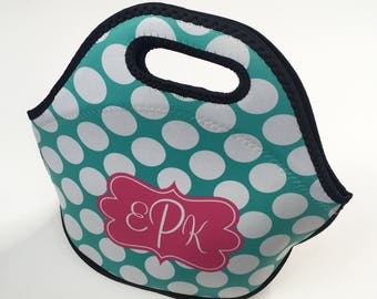 Big Dots Personalized Lunch Tote - Choice of Pattern, Color, Frame & Monogram - Design Your Own Lunch Bag, Neoprene