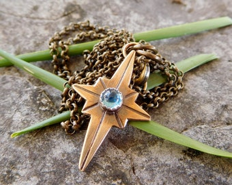 Mini North Star pendant | Brass necklace | artisan metalwork necklace | compass necklace | compass rose necklace | ocean star necklace