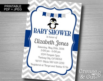 Penguin Baby Shower Invitation Personalized Digital PDF and JPEG 4x6 inch or 5x7 inch in Navy Blue Gray Penguin Themed Baby Shower Invite