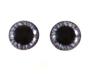 16mm Wide Purple Glass Eye Cabochons - Original Handmade Artisan Eyes for Doll or Jewelry Making - Set of 2