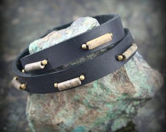 Men's / Unisex Leather Wrap Bracelet with Leopard Jasper