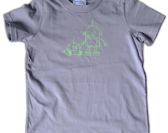 Robot Graphic Tee for Kids - Robot Toddler Tee, grey t-shirt - size 2T - size 4T, shirt for big brother, big brother shirt, shirt for boys