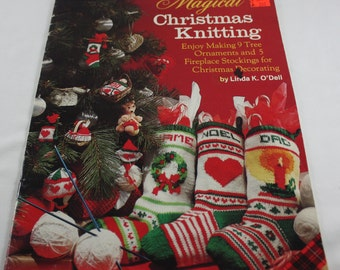 Christmas Knitting Pattern Magical Christmas Knitting By Linda K O'Dell Plaid #8020 Stockings Ornaments Baby's 1st Christmas Kite Heart 1985