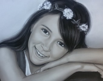 Kid Portrait  Drawing by photo Custom Kid Portrait Portrait of a Girl soft pastel Drawing , Black and White