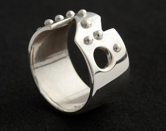 Indecision Sterling Silver Braille Ring, Modern Ring, Blind
