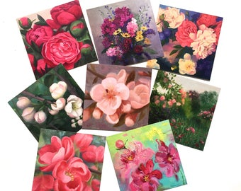 Assorted postcards set of 8 Card set Flower greeting card set of 8 Art Postcard set Prints of original oil paintings