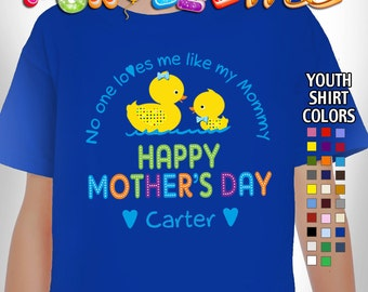 Happy Mother's Day T-Shirt - No One Loves me Like my Mommy - Boys - Youth - Personalized with Name