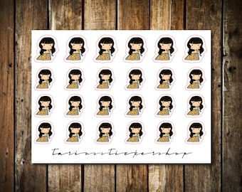 Pizza - Cute Brunette Girl - Functional Character Stickers