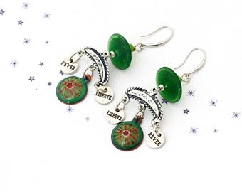 Earrings dangling charm enamel on copper green Lampwork Glass Bead