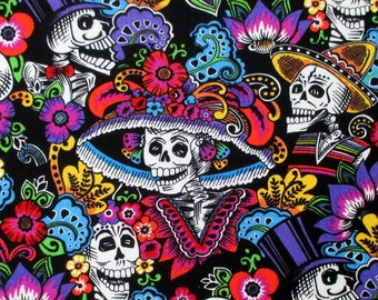 Fabric, Catrina Chiquita in Black, Alexander Henry, Dia de los Muertos Skeleton Skulls, By the Yard