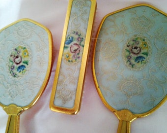 Vintage Gold Brush Mirror and Clothes Brush - Vanity Set - Mid Century