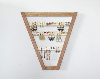 Triangle oak earring holder jewelry rack organizer