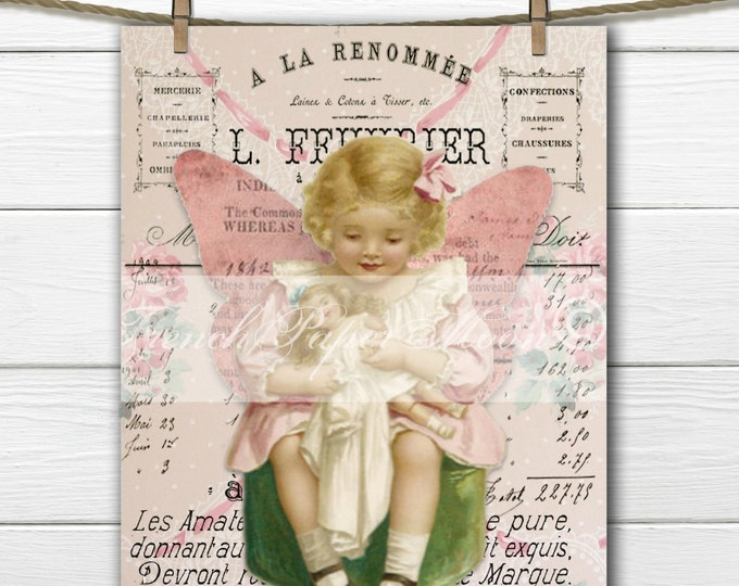 Digital Shabby Chic Victorian Girl, Fairy Girl, Vintage Girl with Doll, French Graphic, Instant Download, Fabric Transfer