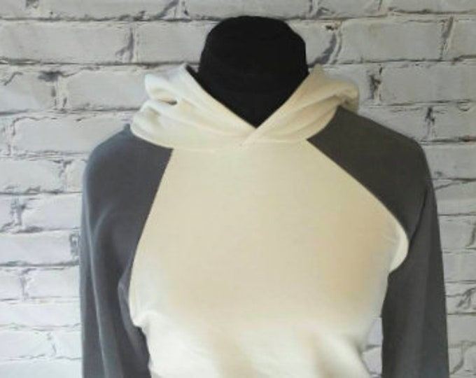 Ivory and Gray Baseball Sleeve Organic Hooded Sweatshirt,