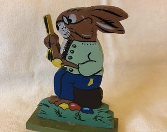 Old Wooden Mr Rabbit Figure