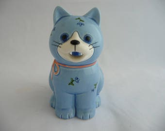 Otagiri Japan Cat Creamer, Blue Cat With Orange Bow And Flowers