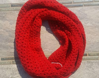 Womens Red  Crochet/ Knit  Lace Infinity Scarf
