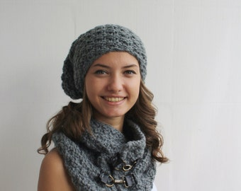 Gray Scarf / Hat Warm set Knitted Scarf and hat Oversized, Chunky Knit, Winter, Cozy Scarf, Women's Gifts, Leather link