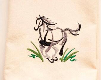 Sumi-e Horse Tea Towel   Embroidered Tea Towel   Embroidered Kitchen Towel   Embroidered Towel   Horse Decor   Personalized Dish Towel