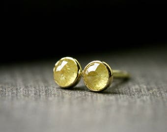 Tiny 3mm rose cut bezel set natural untreated yellow diamond stud earrings 18 yellow gold gold conflict free