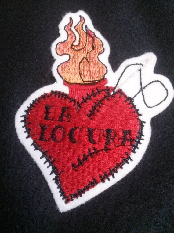 Tattoo style La Locura  Heart Iron on Patch or personalized