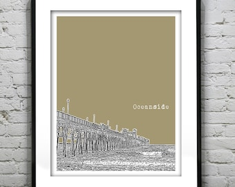 Oceanside California Poster Art Skyline Print CA Pier