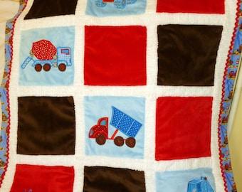 "Construction Trucks Minky Baby Blanket  Appliqued ""BIG Trucks """