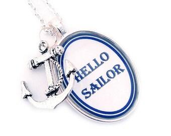 Hello Sailor Nautical Pendant Necklace Blue and White Beach Anchor